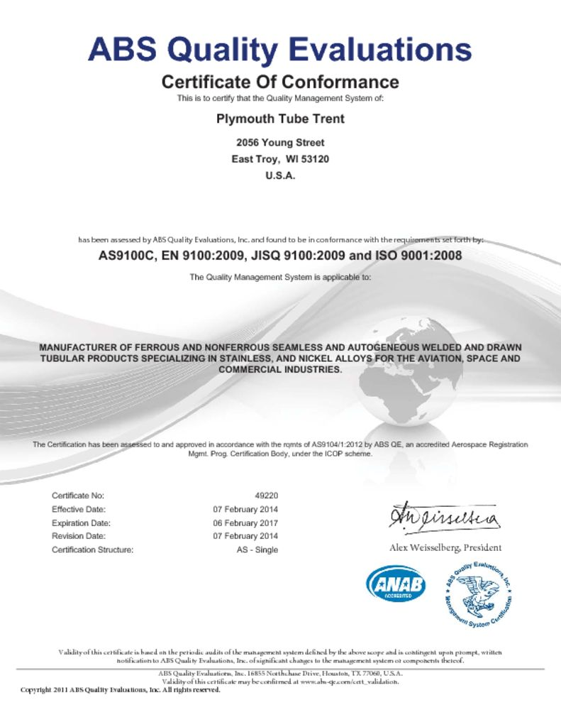 Mill certifications plymouth tube trent as9100c iso 90012008 tagsall all plymouth tubedownload certification xflitez Image collections