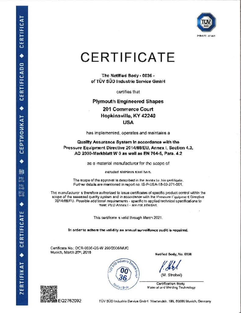 Mill Certifications Plymouth Tube