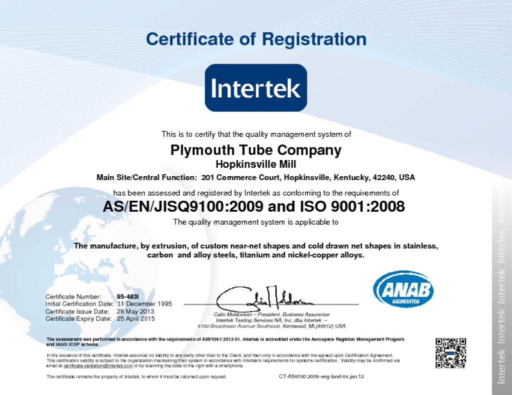 Mill certifications plymouth tube b iso 90012000 certificate tagsall all iso asdownload certification xflitez Images