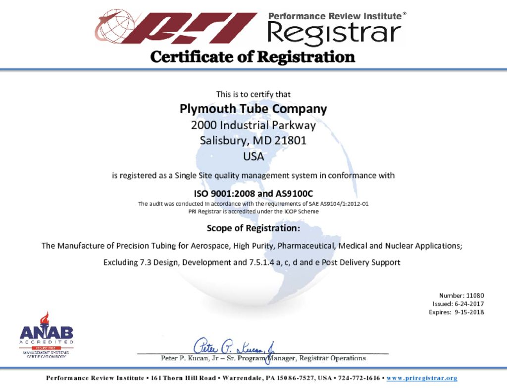 Mill certifications plymouth tube salisbury iso 90012008 and as9100 c certificate tagsall all iso asdownload certification xflitez Image collections