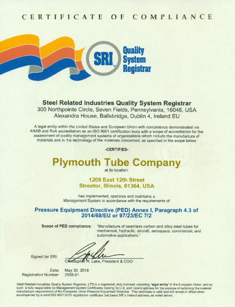 Mill Certifications - Plymouth Tube