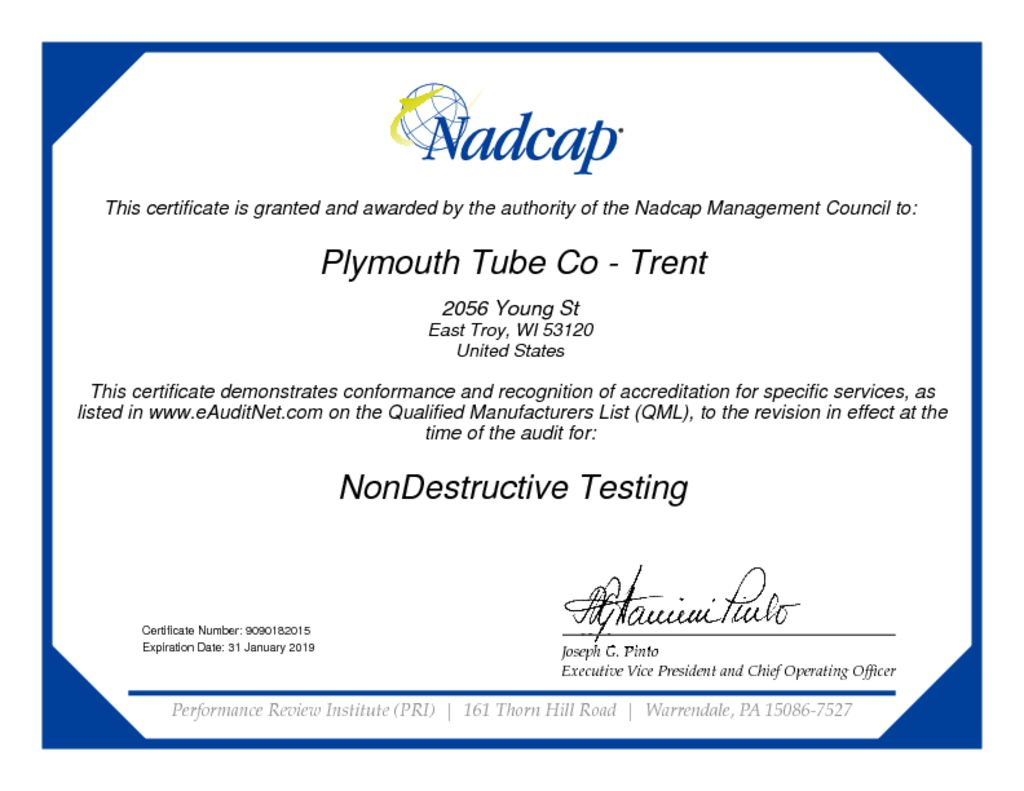 Nondestructive Testing Audit 182015 Certificate Plymouth