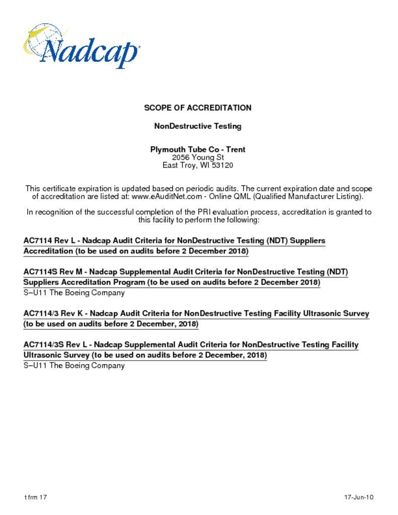 Trent Nadcap NonDestructive Testing Scope of Accreditation